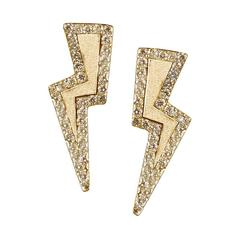 Diamond Sterling Silver Gold Vermeil Lightning Bolt Earrings
