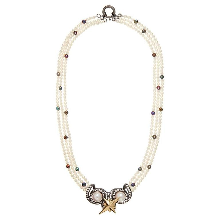 Contemporary TPL Gold Pearl Diamond Blackened-Silver Detachable Necklace For Sale