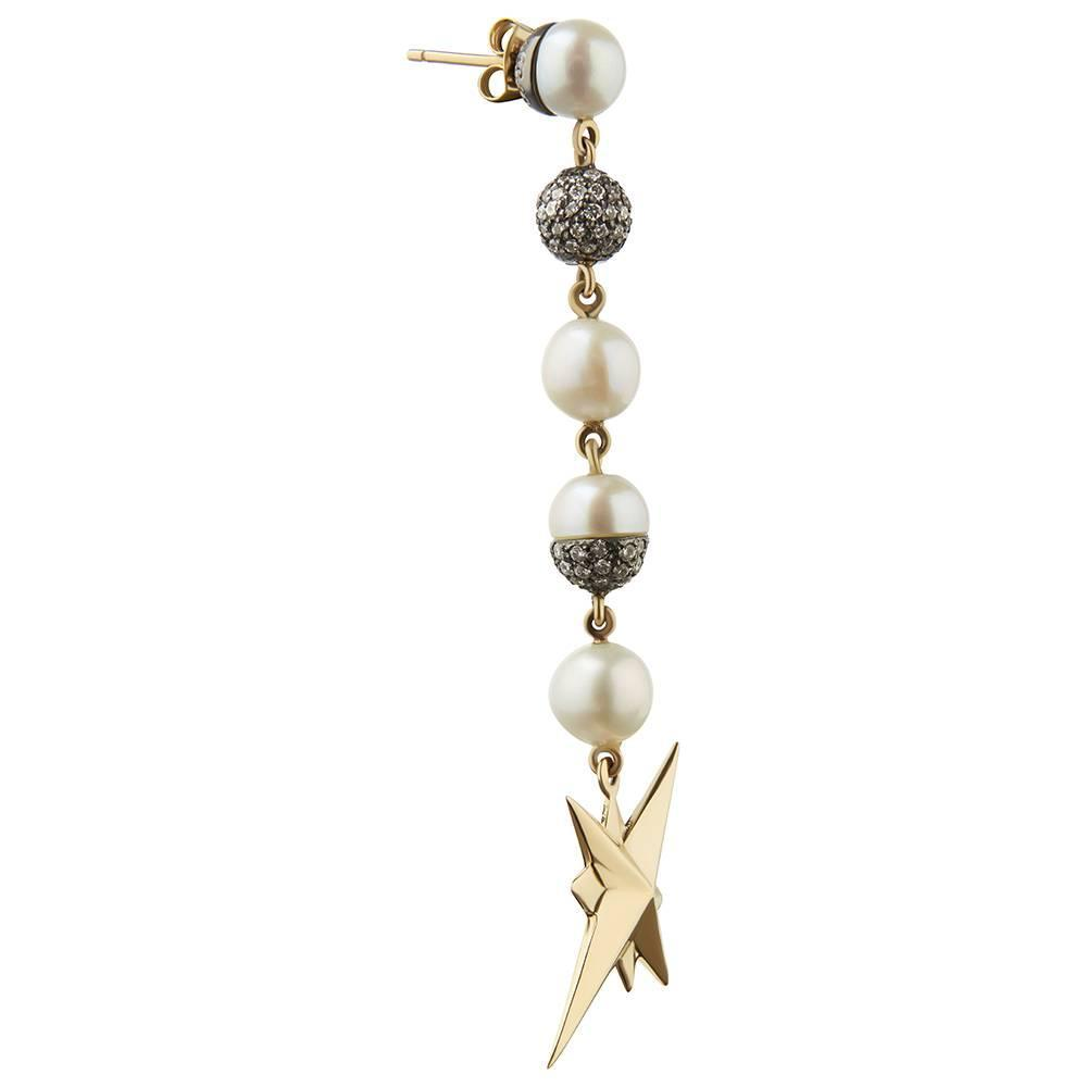Pearl, Diamond, 18ct Yellow Gold and Blackened Silver ...