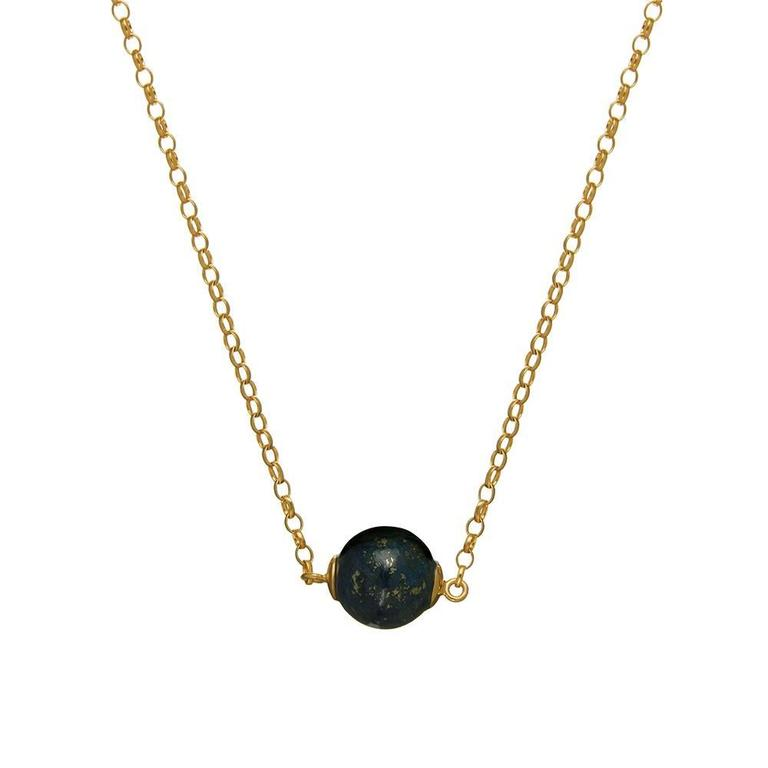 18ct yellow gold vermeil and lapis necklace  Lapis lazuli has been prized since antiquity for its rich blue hues symbolising royalty and honour, gods and power and wisdom and truth. Wear with an open-neck white shirt and boyfriend jeans for