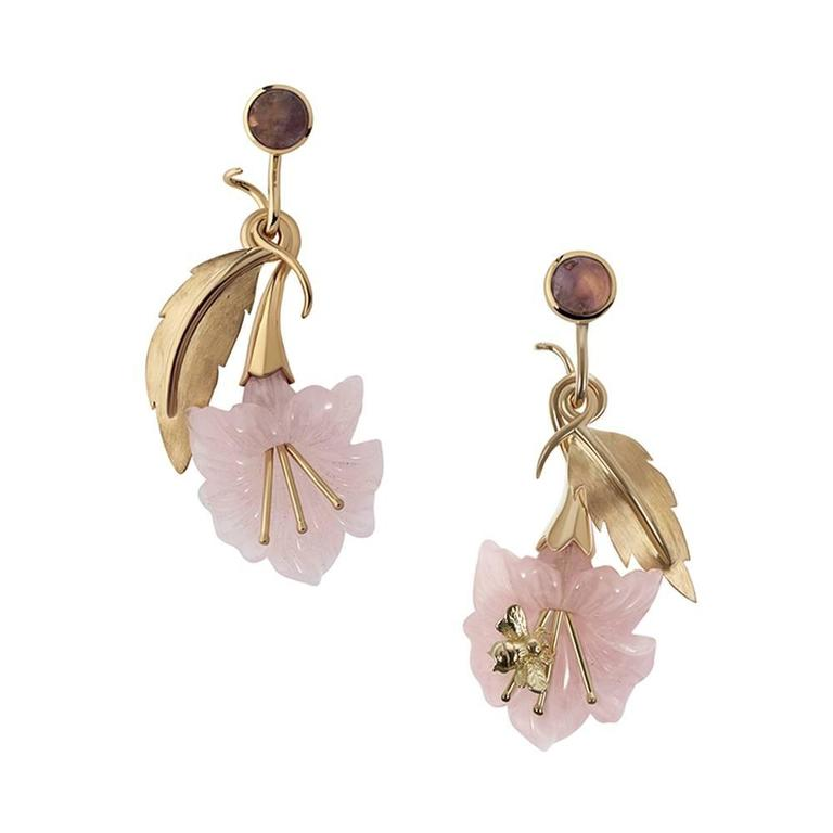 TPL Gold Rose Quartz Fluorite Bee Earrings
