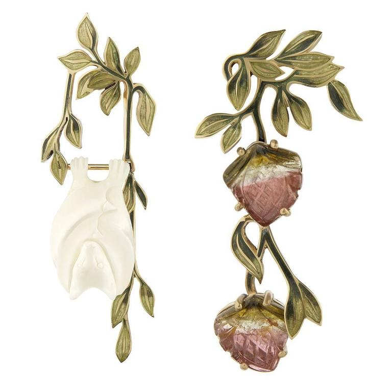 TPL Gold Watermelon-Tourmaline Carved-Bone Enamel Fruit Bat Earrings For Sale