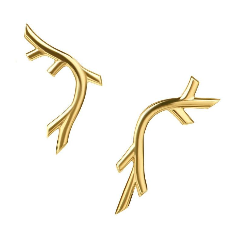 Yellow Gold Vermeil Twig-Like 'Creeper' Earrings by Tessa Packard, London 1