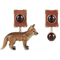 Mismatched Gold Garnet Goldstone Fox Earrings by Tessa Packard London