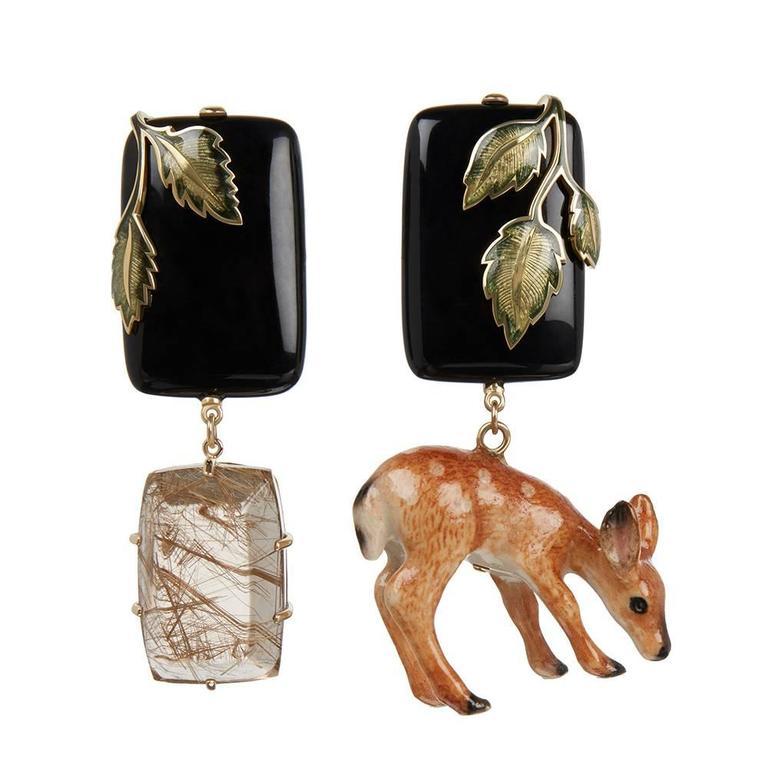 TPL Gold Onyx Quartz Porcelain Fawn Earrings
