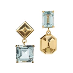 18ct yellow gold vermeil and aquamarine drop earrings