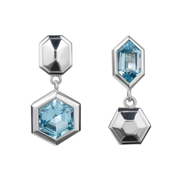TPL Silver Topaz Puzzle Earrings