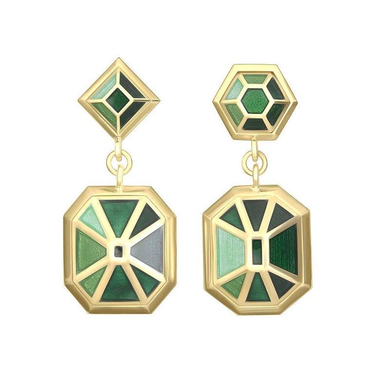 TPL Gold Green Enamel Earrings