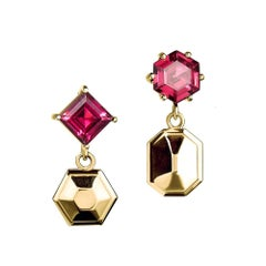 18ct yellow gold vermeil and rhodolite drop earrings