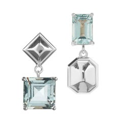 Aquamarine and Sterling Silver Puzzle Earrings '3'