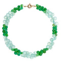 9 Carat Yellow Gold, Chrysoprase and Chalcedony Mint Julep Necklace
