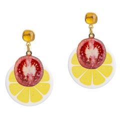 18 Carat Yellow Gold Vermeil and Citrine Bloody Mary Earrings