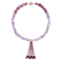 9 Carat Yellow Gold, Amethyst and Garnet 'Campari' Beaded Tassel Necklace