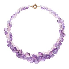 9 Carat Yellow Gold, Amethyst and Rose Quartz 'Cassis' Necklace