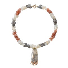 9 Carat Yellow Gold and Moonstone 'Kahlua' Beaded Tassel Necklace