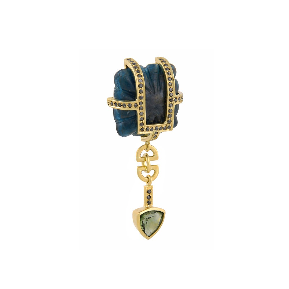 18ct yellow gold, kyanite, black diamond and green tourmaline earrings  The exquisite Concubine Earrings have featured in a wide variety of high fashion publications, from the Financial Times' How to Spend It to Country & Town House Magazine, and