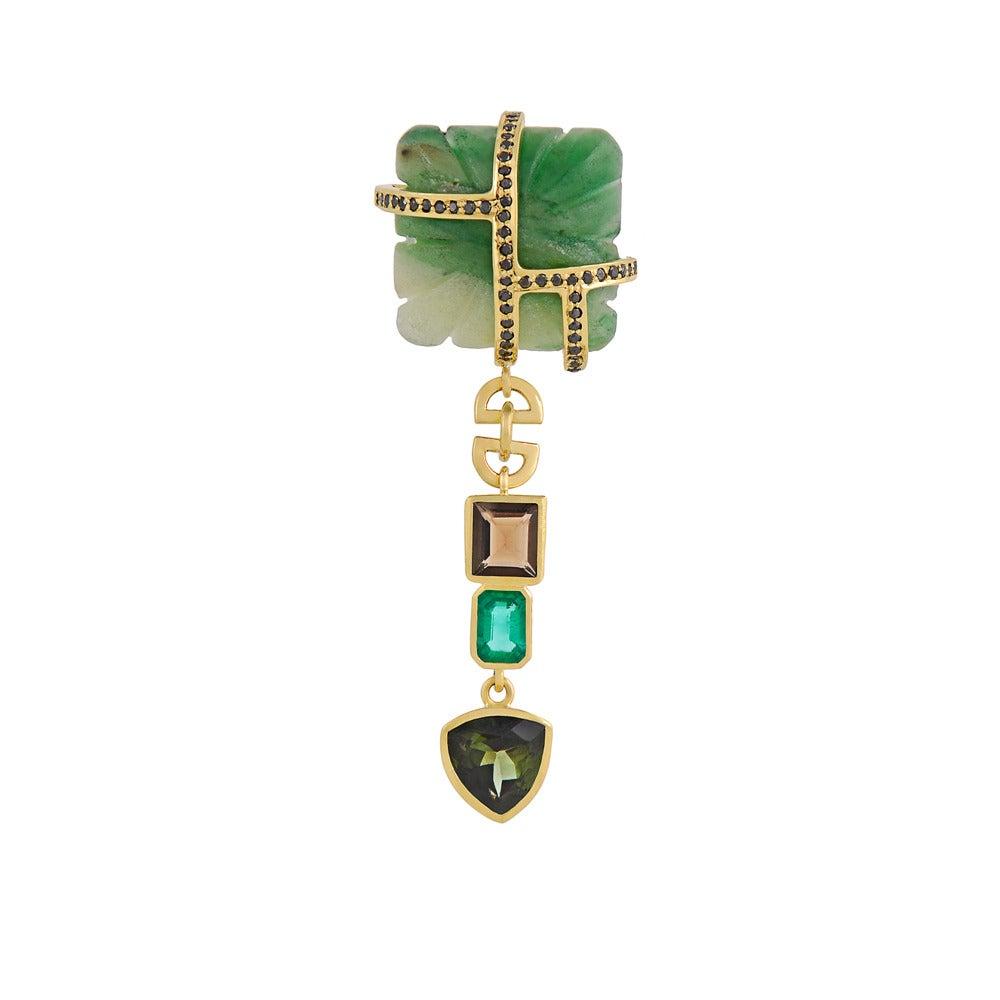 Tessa Packard Aventurine Tourmaline Emerald Black Diamond Drop Earrings 4