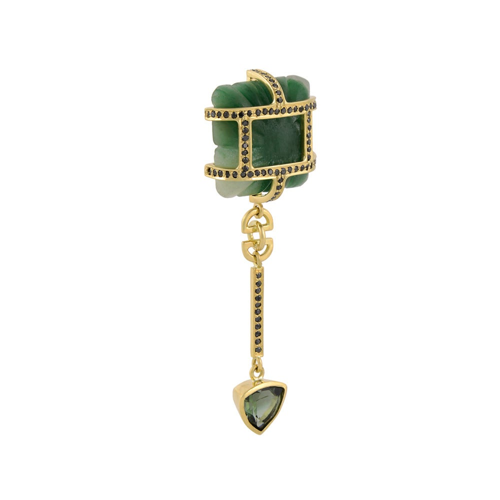Tessa Packard Aventurine Tourmaline Emerald Black Diamond Drop Earrings 3
