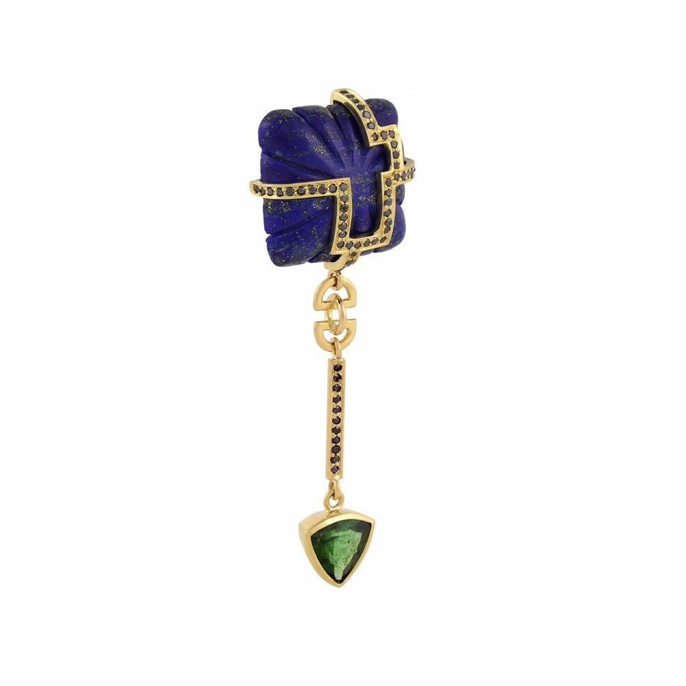 Lapis Lazuli Tourmaline Sapphire Black Diamond Earrings 4