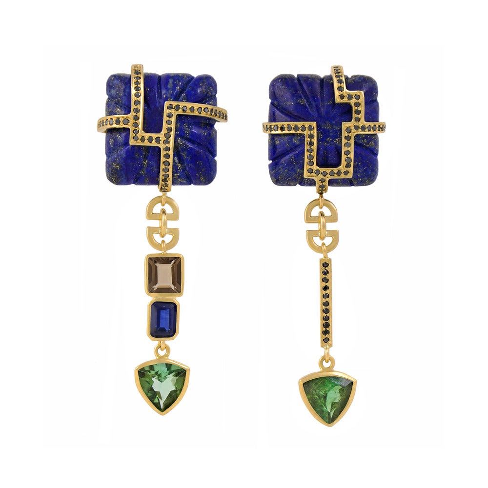 TPL Gold Sapphire Tourmaline Black-Diamond Smokey-Quartz Lapis Earrings
