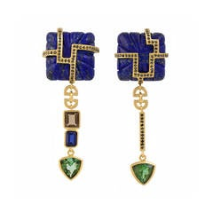 18ct yellow gold, lapis, tourmaline, sapphire, quartz and diamond earrings