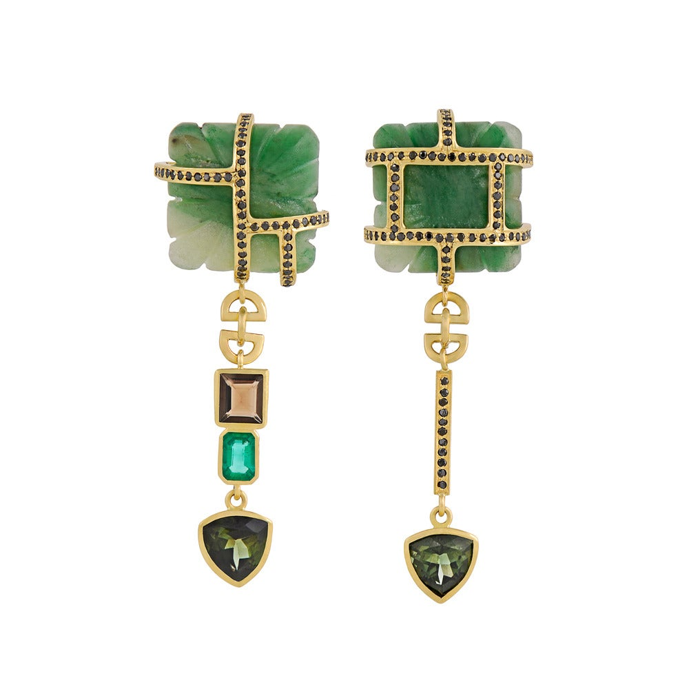 Tessa Packard Aventurine Tourmaline Emerald Black Diamond Drop Earrings 1