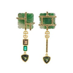 TPL Gold Emerald Diamond Tourmaline Quartz Aventurine Earrings