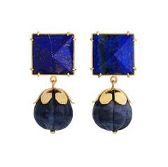 18ct yellow gold, sodalite and lapis lazuli pyramid 'Flower Bomb' earrings