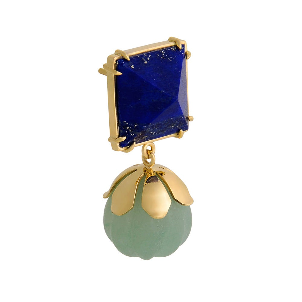 Lapis Lazuli Chrysoprase Gold Dangle Earrings 2