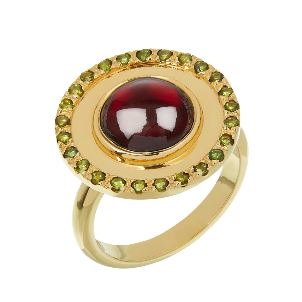TPL Gold Garnet Tourmaline Disc Ring For Sale