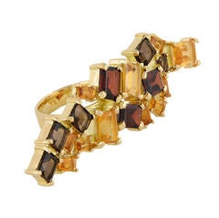18ct yellow gold, citrine, garnet and smokey quartz cocktail knuckle ring
