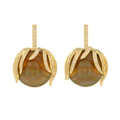 Red Agate Diamond Gold Drop Earrings
