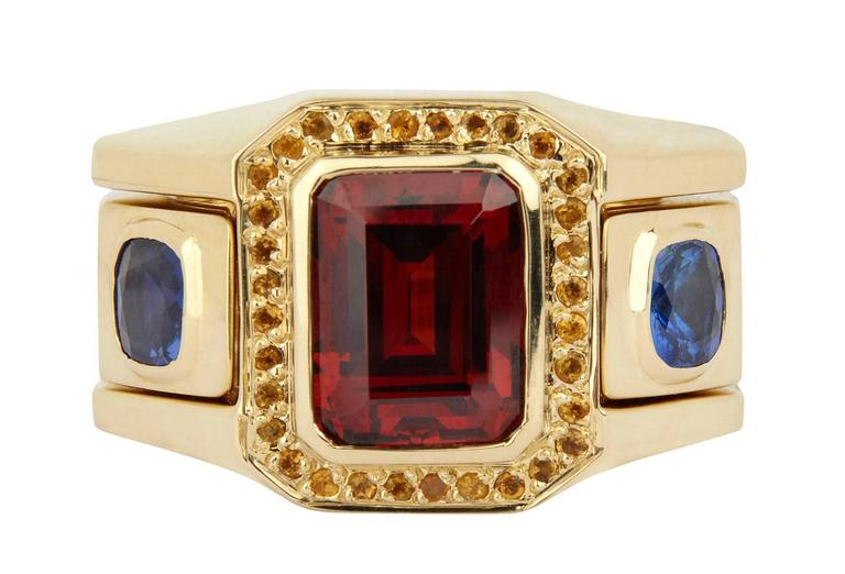 Garnet Sapphire Citrine Gold Ring 3
