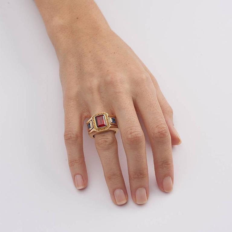 Garnet Sapphire Citrine Gold Ring 4