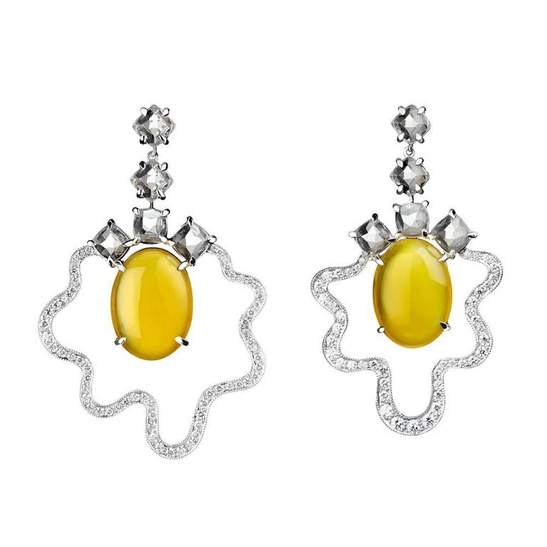 Yellow Agate White Topaz diamond gold dangle Earrings  1