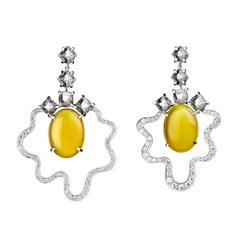 Yellow Agate White Topaz Diamond Gold Dangle Earrings