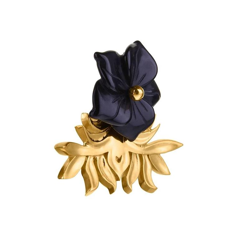 Tessa Packard London Carved Onyx Vermeil Flower Earrings 2