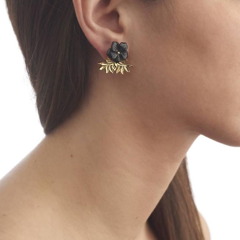 Tessa Packard London Carved Onyx Vermeil Flower Earrings 6