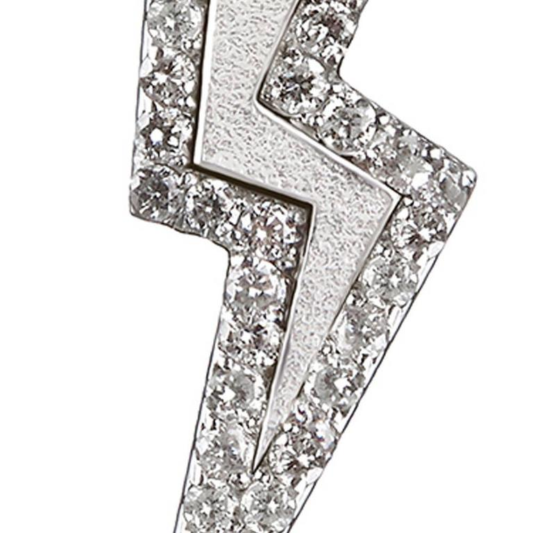 Contemporary TPL Silver Diamond Lightning Bolt Earrings For Sale