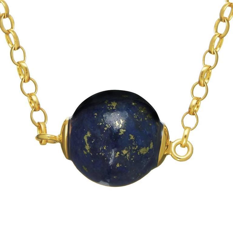 Contemporary TPL Vermeil Lapis Bead Necklace For Sale