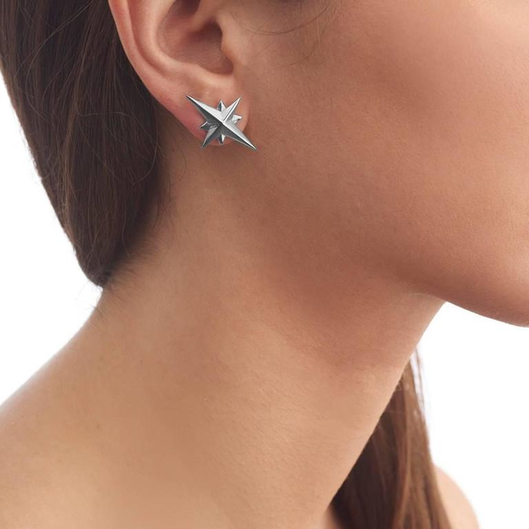 These statement earrings hail from the designer's For King and Country collection and draw their inspiration from the Polaris or North Star. Versatile in design, the Starbound Earrings work with any ensemble and look particularly striking when