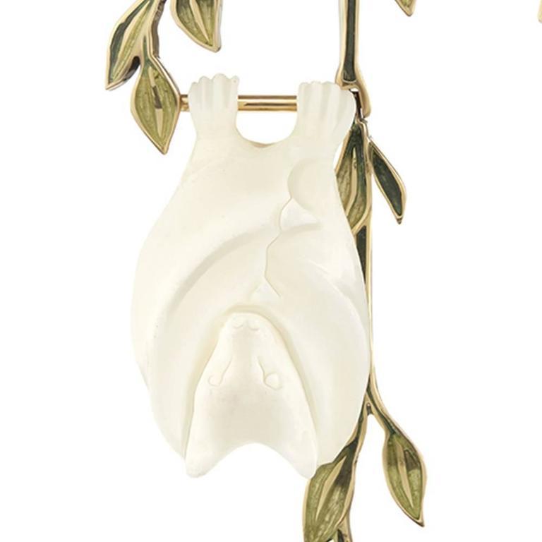 TPL Gold Watermelon-Tourmaline Carved-Bone Enamel Fruit Bat Earrings For Sale 2