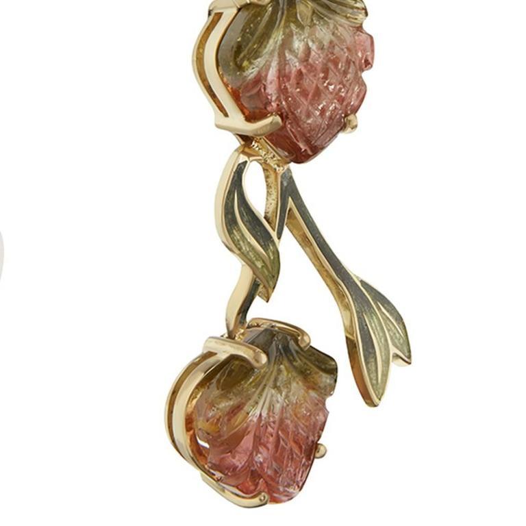 Women's TPL Gold Watermelon-Tourmaline Carved-Bone Enamel Fruit Bat Earrings For Sale
