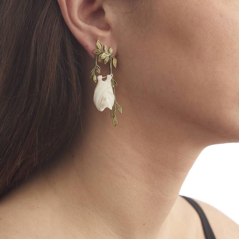 TPL Gold Watermelon-Tourmaline Carved-Bone Enamel Fruit Bat Earrings For Sale 3