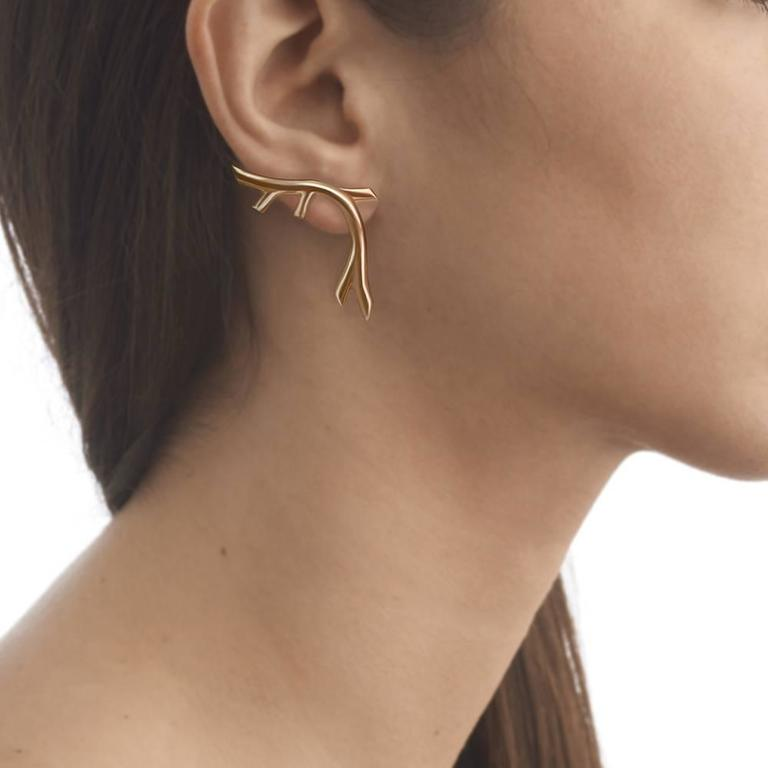 Yellow Gold Vermeil Twig-Like 'Creeper' Earrings by Tessa Packard, London 2
