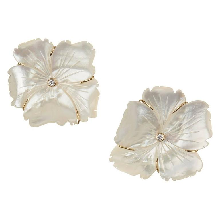 TPL Gold Diamond Carved Mother-of-Pearl Flower Earrings