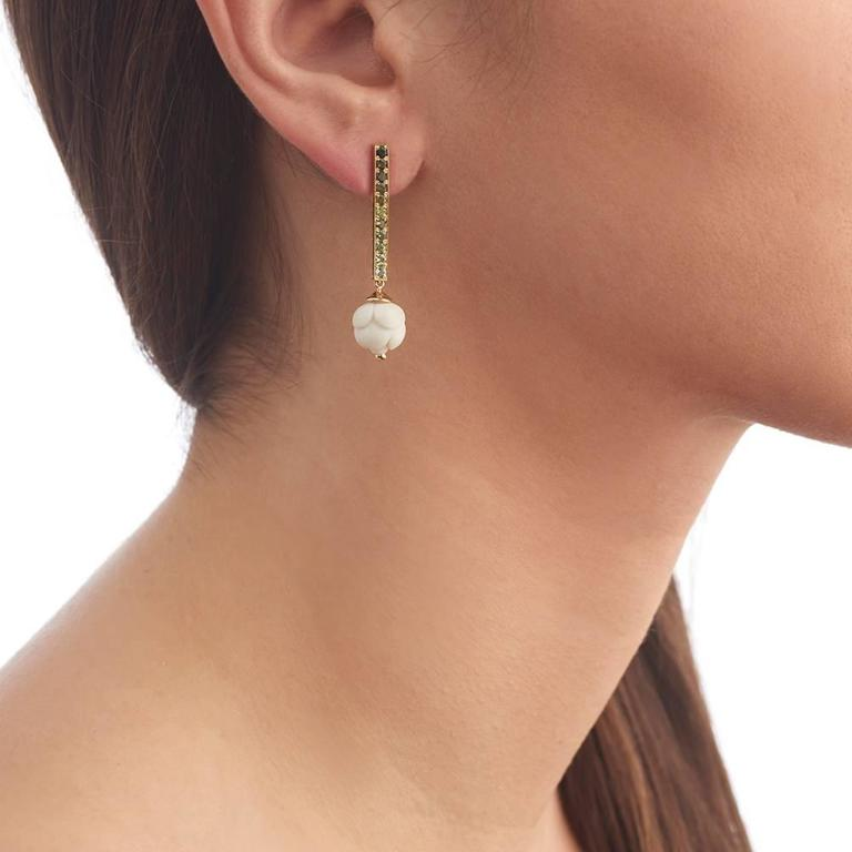 Green Tourmaline Bone Bud Gold Earrings 8