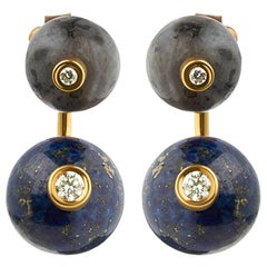 TPL Labradorite Lapis Diamond Vermeil Earrings