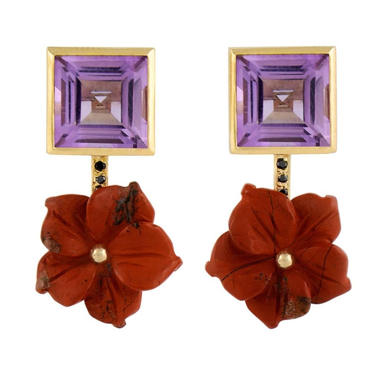 TPL Gold Jasper Amethyst Black Diamond Flower Earrings
