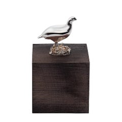 Sterling Silver and Grey Wood Grouse Cube Table Ornament